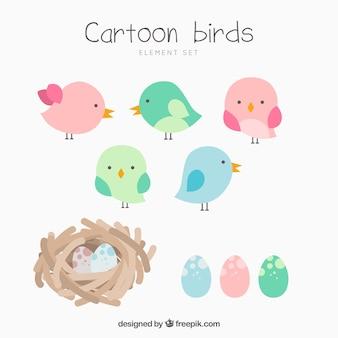 Coleção de pássaros dos desenhos animados e ninhos