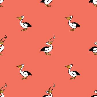 Coleção de pássaros pelicano seamless pattern pink background