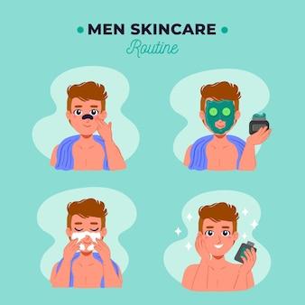 Coleção de passos para a rotina de cuidados com a pele masculina