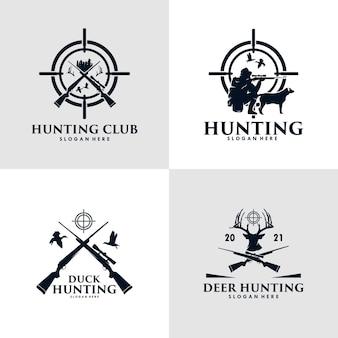 Coleção de pato de caça, veado e com rifle de atirador e design de logotipo de caça a cães