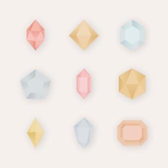 Coleção de pedras de cristal coloridas