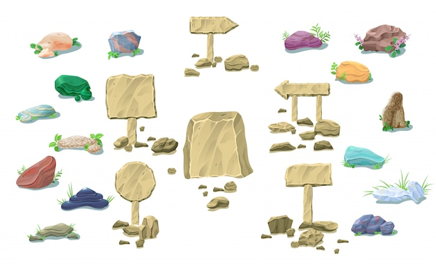Coleção de pedras naturais de desenho animado