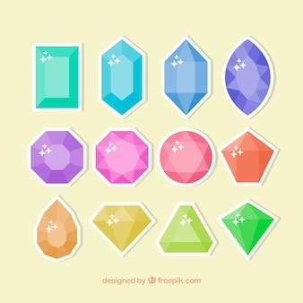 Coleção de pedras preciosas adesivos
