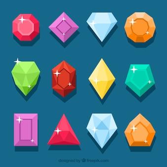 Coleção de pedras preciosas coloridas
