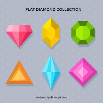 Coleção de pedras preciosas em design plano