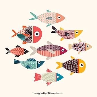 Coleção de peixes coloridos com textura