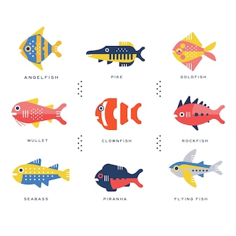 Coleção de peixes do mar e oceano e nome da rotulação em ilustrações inglesas