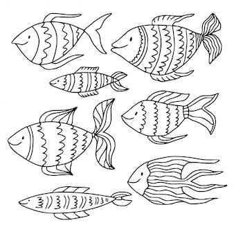 Coleção de peixes doodle. página do livro de colorir.