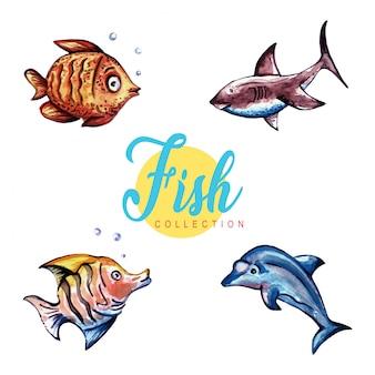 Coleção de peixes em aquarela