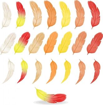 Coleção de penas coloridas em aquarela, paleta de cores quentes