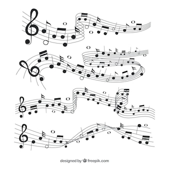Coleção de pentagrama com notas musicais pretas