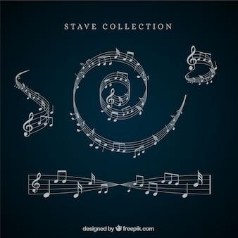 Coleção de pentagramas e notas musicais