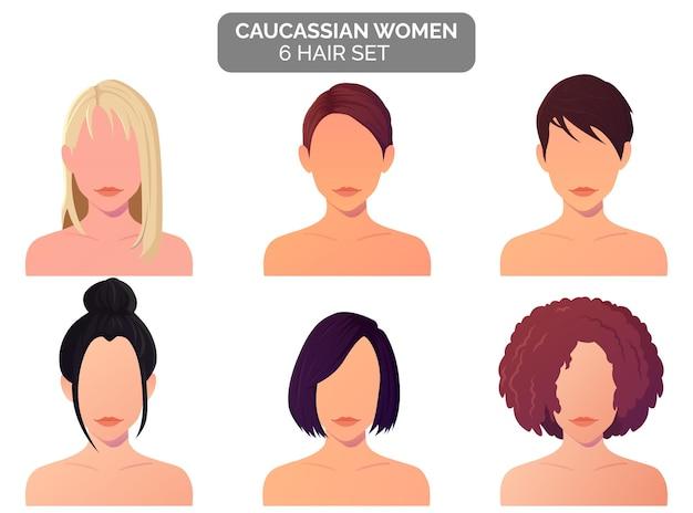 Coleção de penteados femininos, cabelos loiros, cacheados, retos e curtos