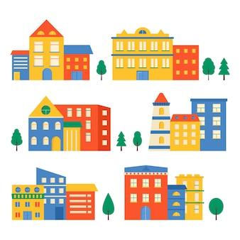 Coleção de pequenas casas modernas com fachada de janela, garagem, varanda e telhado. exterior do prédio de apartamentos com árvores. ilustração em vetor paisagem urbana. fundo simples em estilo geométrico