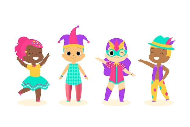 Coleção de pequenos dançarinos de carnaval