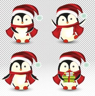 Coleção de pequenos pinguins de natal.