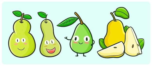 Coleção de peras divertidas em estilo kawaii doodle