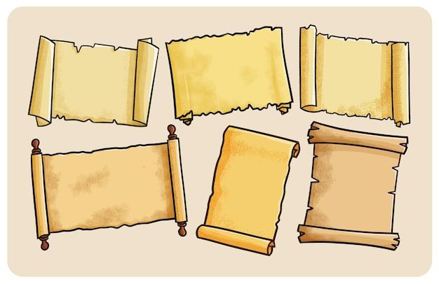 Coleção de pergaminhos vintage em estilo simples de desenho animado