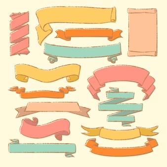 Coleção de pergaminhos vintage mão desenhada