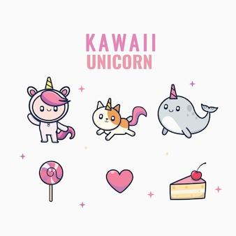 Coleção de personagem bonito unicórnio estilo kawaii