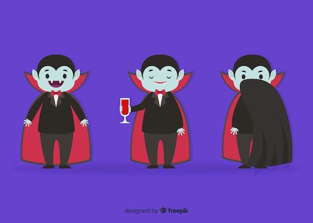 Coleção de personagem criança vampiro plana