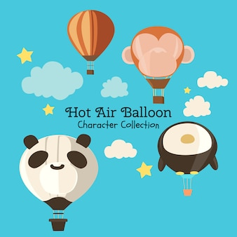 Coleção de personagem de balão de ar quente