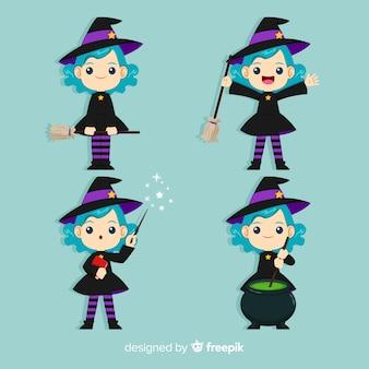 Coleção de personagem de bruxa de halloween com design liso
