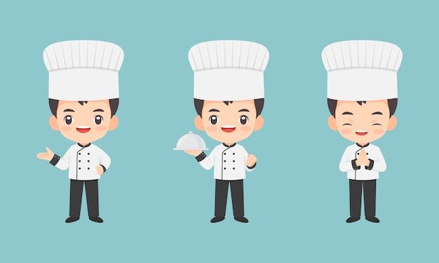 Coleção de personagem de chef kawaii