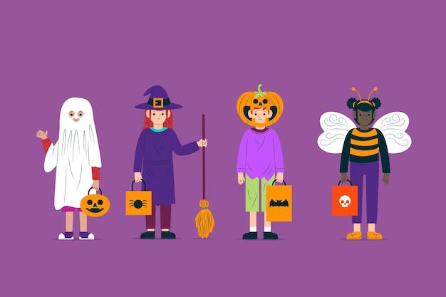 Coleção de personagem de criança de traje de halloween Vetor grátis