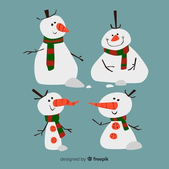 Coleção de personagem de desenho animado boneco de neve