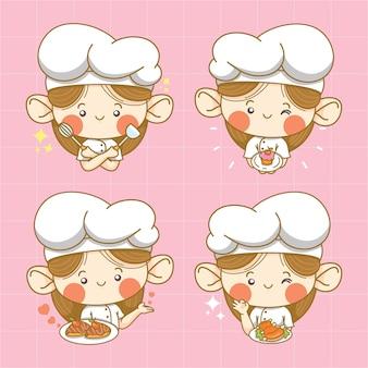 Coleção de personagem de desenho animado de chef garotinha fofa e ilustração de logotipo