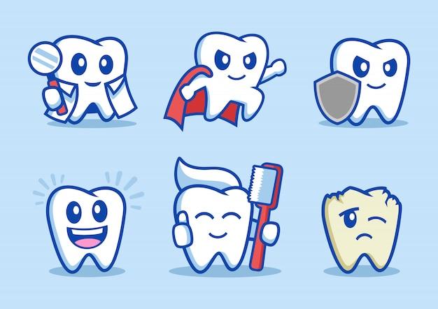 Coleção de personagem de desenho animado de dente