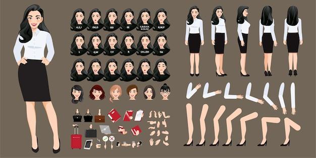 Coleção de personagem de desenho animado de empresária