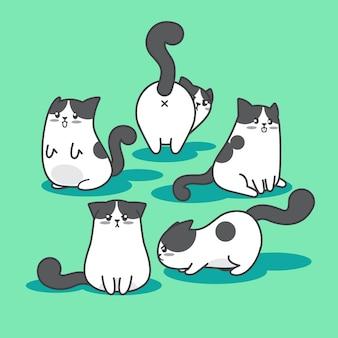 Coleção de personagem de desenho animado de gato gordinho fofo e playfu em múltiplas ações e expressão facial