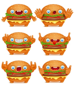 Coleção de personagem de desenho animado de hambúrguer emoticon