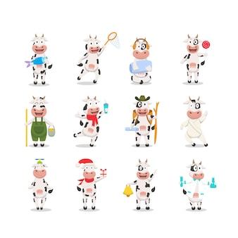 Coleção de personagem de desenho animado de vaca engraçada