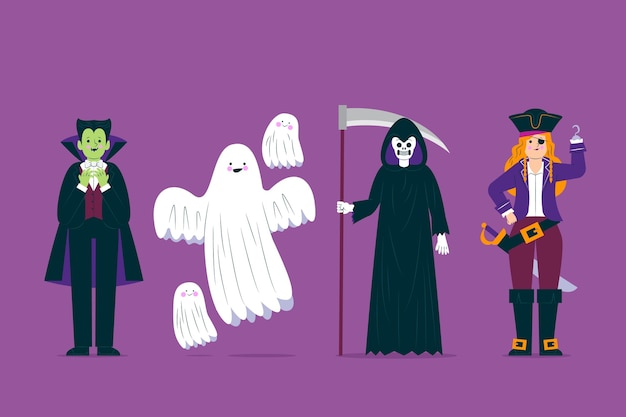 Coleção de personagem de fantasia de halloween assustador Vetor grátis