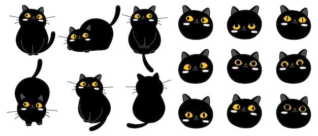 Coleção de personagem de gato preto bonito dos desenhos animados.