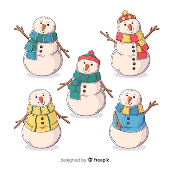 Coleção de personagem de mão desenhada boneco de neve