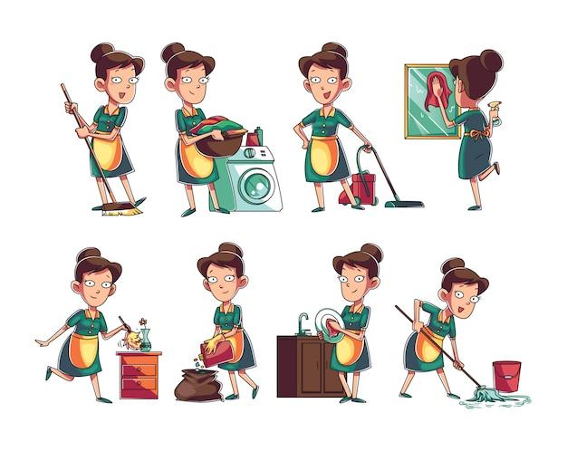 Coleção de personagem de mulher de serviço de limpeza