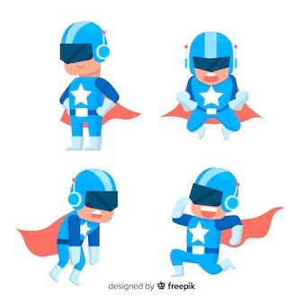 Coleção de personagem de super-herói moderno com design plano