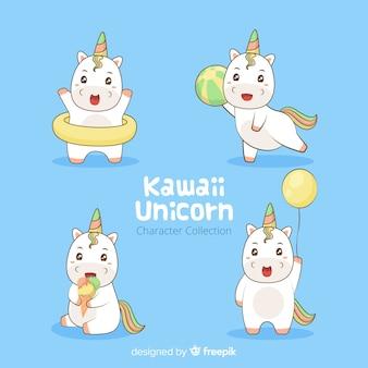 Coleção de personagem de unicórnio kawaii