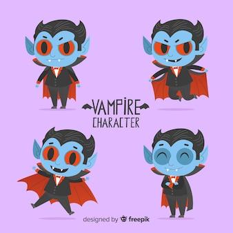 Coleção de personagem de vampiro assustador de halloween