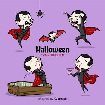 Coleção de personagem de vampiro assustador mão desenhada