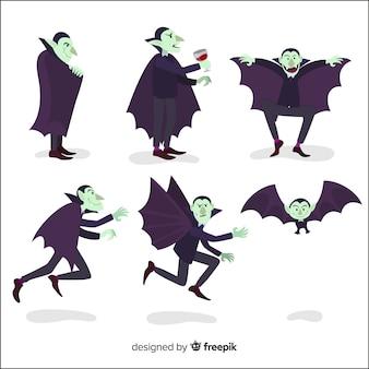 Coleção de personagem de vampiro em design plano