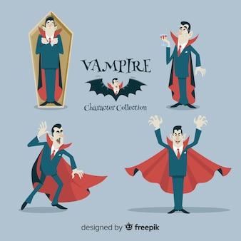 Coleção de personagem de vampiro halloween assustador mão desenhada