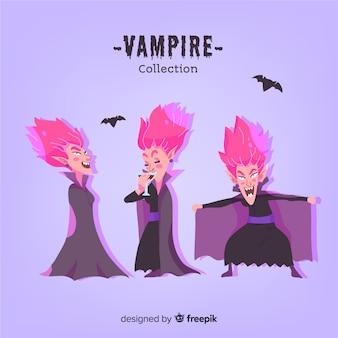 Coleção de personagem de vampiro halloween colorido com design liso
