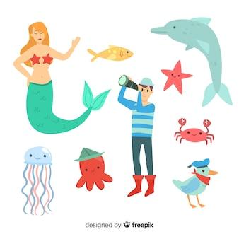 Coleção de personagem de vida marinha colorida