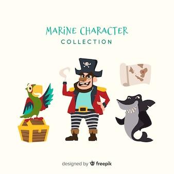 Coleção de personagem de vida marinha plana