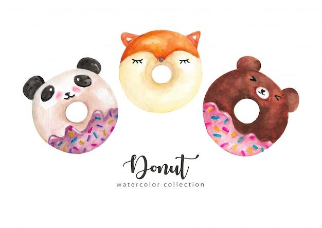 Coleção de personagem engraçada em aquarela donuts